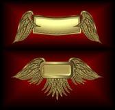 skrzydlata banner złoto Zdjęcie Royalty Free