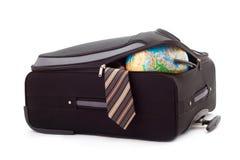 skrzynka kula ziemska odizolowywający pakujący krawat Zdjęcie Royalty Free