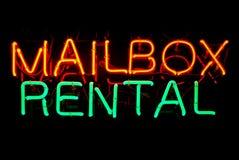 Skrzynka pocztowa Do wynajęcia Neonowy znak Zdjęcie Royalty Free