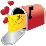 Skrzynka pocztowa z kochanka listem ilustracji