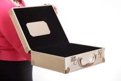 skrzynka ręka otwierający srebro Fotografia Royalty Free