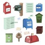 Skrzynki pocztowa poczta wektorowa skrzynka pocztowa lub pocztowy opancerzania listowego pudełka ilustracyjny ustawiający postbox ilustracja wektor