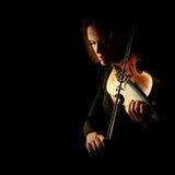 Skrzypaczka bawić się skrzypcowego gracza odizolowywającego zdjęcia royalty free