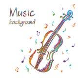 Skrzypcowy muzyczny tło z notatkami Obrazy Stock