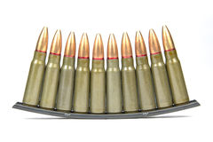 SKS Assault Rifle Bullets on Clip Strip. 7.62x39mm full metal jacket Berdan Primed SKS assault rifle bullets on a Clip Strip for easy loading Stock Photo