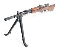 SKS semi-automatic carbine. SKS semi-automatic Soviet assault carbine with stock, isolated on white background Royalty Free Stock Photo