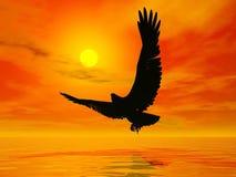 Örn vid solnedgång - 3D framför royaltyfri illustrationer