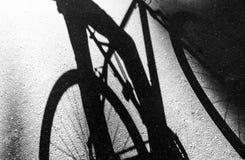 Skugga av en cykel och en cyklist på asfalten som är svartvit royaltyfria foton