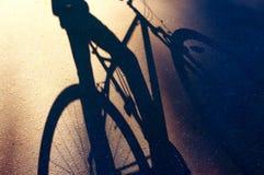 Skugga av en cykel och en cyklist på asfalten, sommar arkivfoto
