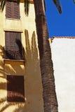 Skugga av en palmträd mot ett gult hus Royaltyfria Bilder