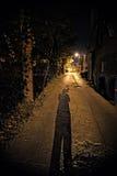 Skugga av en person i en mörk stadsgränd på natten royaltyfria bilder