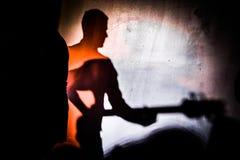 Skugga av gitarristen som drömmer av att bli en gitarrist royaltyfria foton
