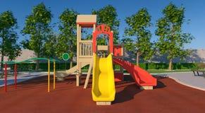 Skugga av kuben, cylindColorful lekplats för barn` s Utomhus- glidbanor hm, sfär och kotte på grå bakgrund Royaltyfri Foto