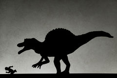 Skugga av spinosaurusen som jagar människan på väggen royaltyfria bilder