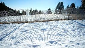Skugga av staketet i snön Royaltyfri Fotografi