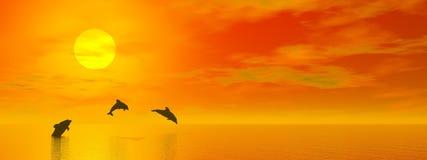 Delfiner vid solnedgång - 3D framför stock illustrationer