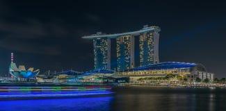 Skugga det ljusa Marina Bay /Lunar nya året/nytt år Arkivfoton