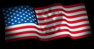 Skugga för örn för begreppsmässigt emblem för bild ryskt imperialistisk på USA som avfärdar flaggaRyssland påverkan på process i  arkivfoto