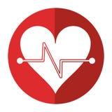skugga för symbol för kondition för hjärtatakt Royaltyfria Bilder