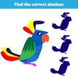 Skugga som matchar leken för barn Finna den högra skuggan Aktivitet för förskole- ungar Djurbilder för ungar royaltyfri illustrationer