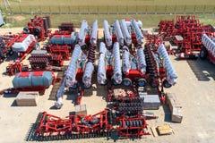 Skuggad jordbruks- utrustning Produkter av det jordbruks- maskineriet för växt för tillverkning av flyg- sikt fotografering för bildbyråer