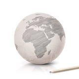 SkuggaEuropa översikt på det pappers- jordklotet Royaltyfria Bilder