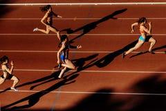 skuggalöparekvinnor sprintar loppet på stadion Arkivfoto