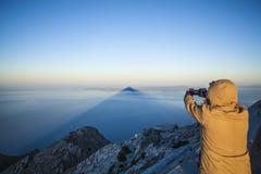Skuggan av det heliga Mountet Athos arkivbild