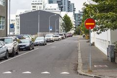 Skuggasund street in Reykjavik city in autum. REYKJAVIC, ICELAND - SEPTEMBER 5, 2017: car parking on Skuggasund street in Reykjavik city in autumn. Reykjavik is Royalty Free Stock Image
