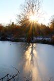 Skuggor på isen Arkivfoto