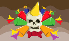 Skul new years celebration. Skull celebration with colorful trumpet Royalty Free Stock Images
