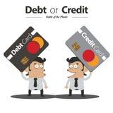 Skuld eller kreditering stock illustrationer