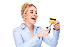 skulden för kortkrediteringscuttingen frigör kvinnan Royaltyfri Fotografi