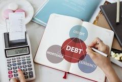 Skulden intecknar begrepp för finansiell transaktion för krediteringsvaluta royaltyfri foto