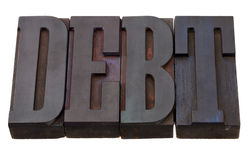 skuldlettepress skrivar ord Arkivbilder