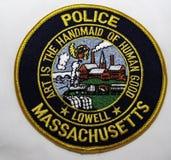 Skuldralappen av Lowell Police Department i Massachusetts arkivbild
