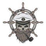 Skull指挥在有胡子的一个帽子 免版税图库摄影
