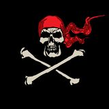 Skull_03. Cheerful Roger. Piracy symbol in a red scarf Royalty Free Stock Photo