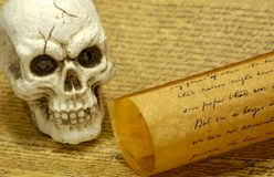 Skull. And old Parchments - Witchcraft Concept Stock Image