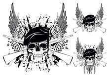 Skull. The image of skull in beret with the crossed rifles Vector Illustration