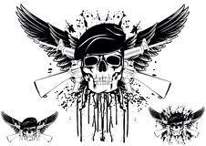 Skull. The image of skull in beret with the crossed rifles Royalty Free Illustration
