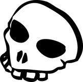 Skull. White cartoon style human skull Stock Image