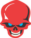 Skull. Red skull with blue eyes and white teeth laughing Royalty Free Stock Images