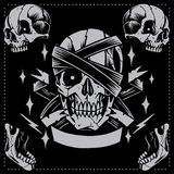 Skull. Old school Tattoo Style stock illustration