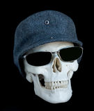 Skull 4. Human skull wearing a cap and sunglasses Royalty Free Stock Photography
