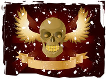 Skull. Vector image of skull with wings and ribbon on dark red background Stock Image