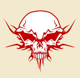 Skull. Vector illustration of human skull with tribal fire ornaments Royalty Free Stock Images