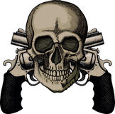 Skull(6). Skull and two crossed revolvers. The illustration on white background royalty free illustration