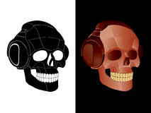 Skull. Vector image of skull with headphones Royalty Free Stock Images