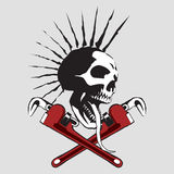 Skull. With the pipe wrench. An additional file is in the format of EPS Royalty Free Stock Photos